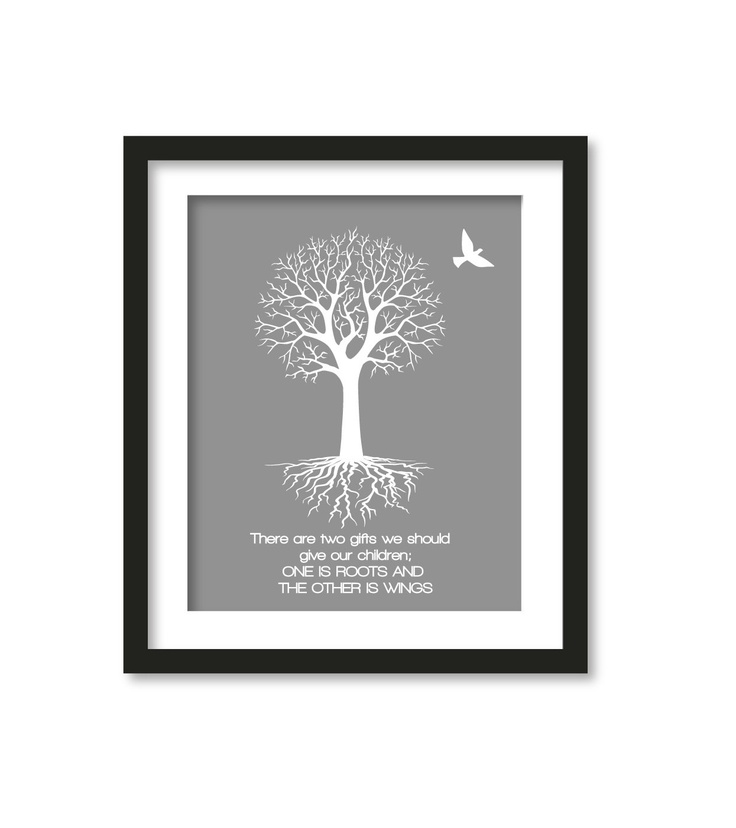 Roots and Wings 20x25 in gray by babiesartroom on Etsy