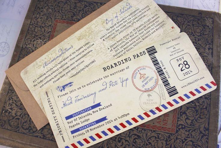 Boarding Pass Wedding Invitations Card
