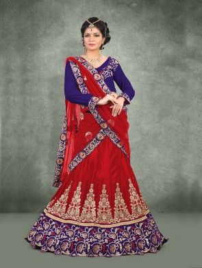 Red Chinon Lehenga Choli with Embroidery Work