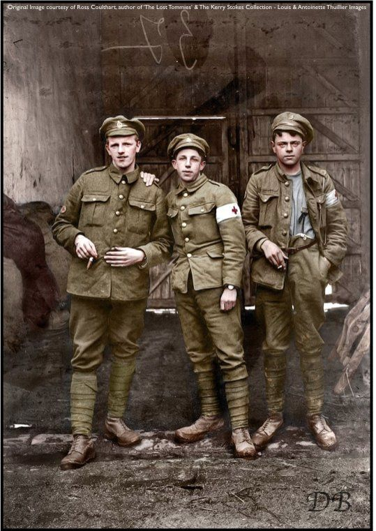 """ The Lost Tommies"" - Three slightly dishevelled young Royal Army Medical Corps men. -Doug (@colour_history) 