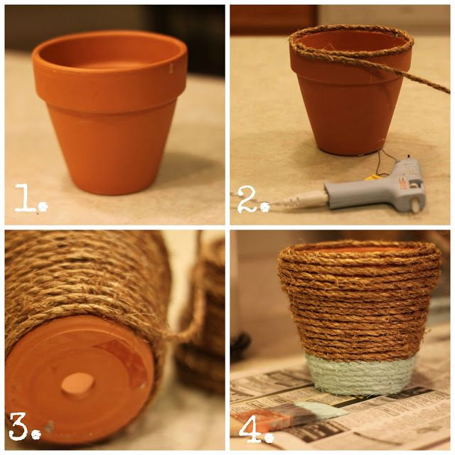 how to make rope wrapped pots via housebyhoff.com. Try this on ugly plastic toy tub...
