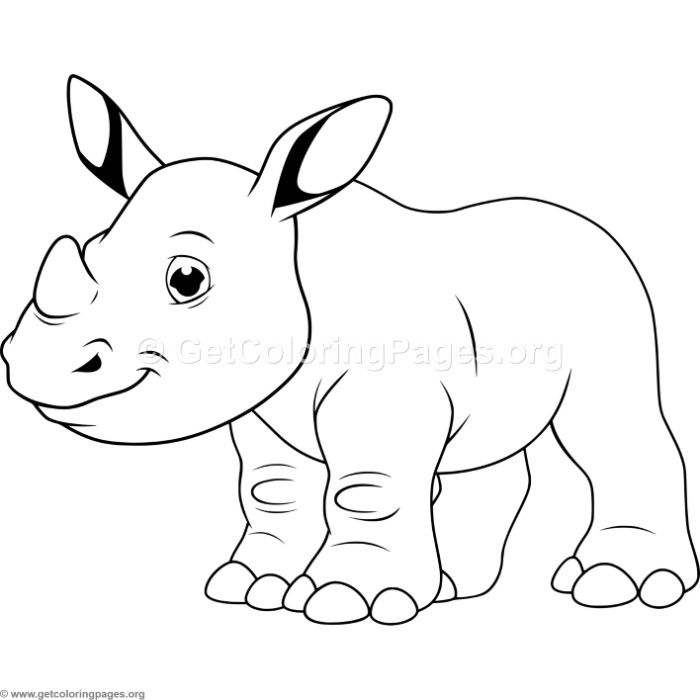 Cartoon Baby Rhino Coloring Pages With Images Cute Coloring