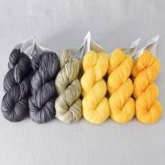 Gradient Set Six skeins of our Yummy 2-Ply Toes, dyed in a tonal gradient from light to dark. Size: Six 133 yd / 1.3 oz (121m / 38g) skeins Content: 100% superw
