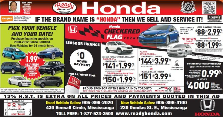 Ready Honda ad in the #Mississauga news