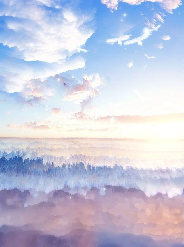 Dreamy 3d Emission Blue Sky White Clouds Background Paint Background Watercolor Background Fantasy Background