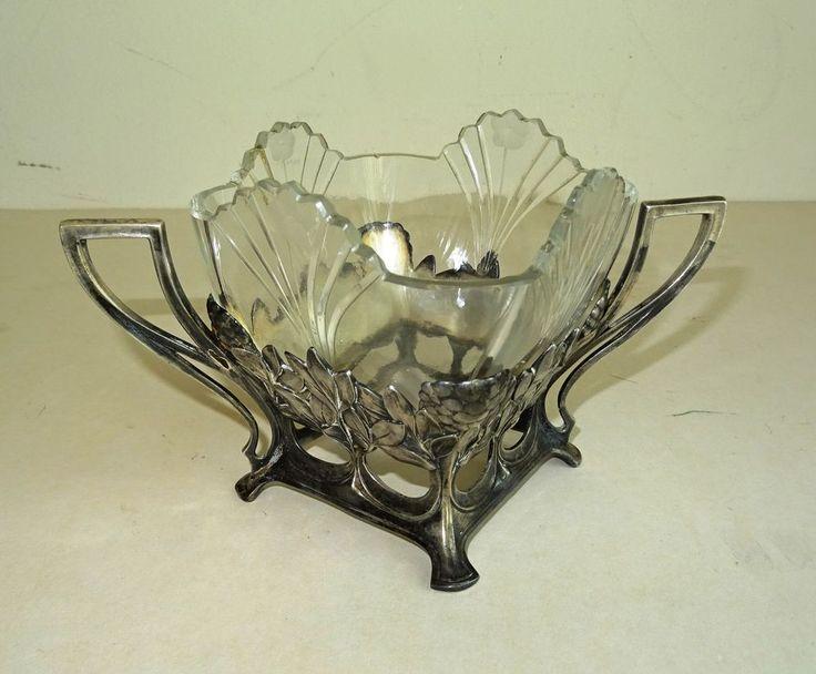 JUGENDSTIL  ART NOUVEAU Zuckerschale sugar bowl Glas geschliffen Marke A.K.CIE   eBay