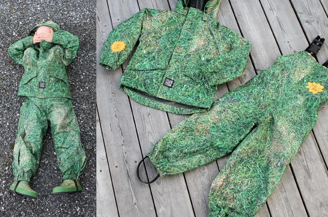 Super cool rainwear with grass print on so you can hide your kids in the grass when they annoy you.