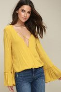 Mustard Yellow Top - Long Sleeve Top - Surplice Top