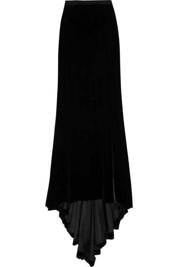 Spring black velvet maxi skirt.Custome velvet by CTbyCoutureTime, $89.00