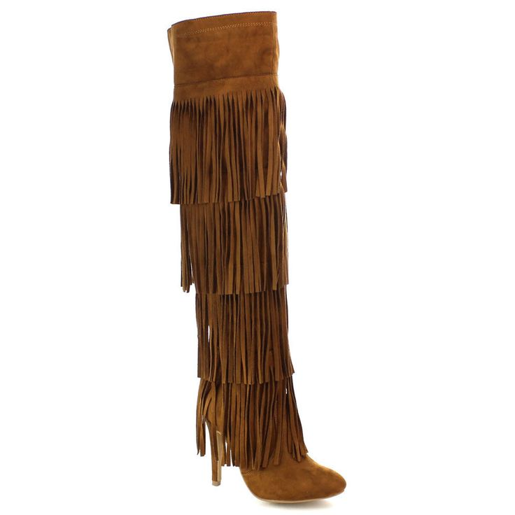 Nature Breeze Highpoint-02H Women's Fringe Elatic Stiletto Over Knee High Boots