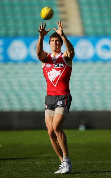Kurt Tippett handles the ball during a Sydney Swans AFL training session at Sydney Cricket Ground on June 18, 2013 in Sydney, Australia.