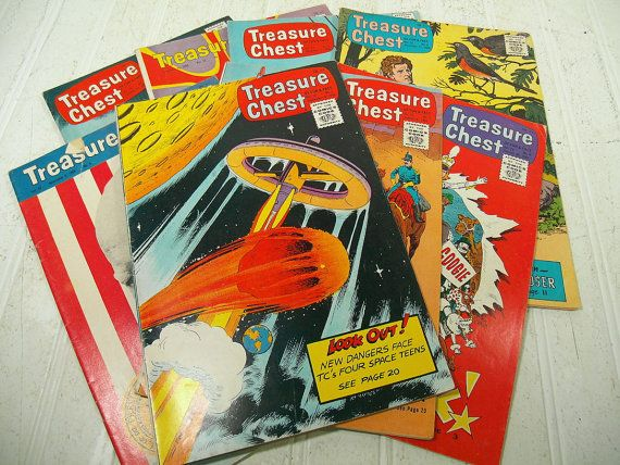 Vintage Treasure Chest of Fun & Fact Comic Books Collection Set of 8 - Retro Children's Comic Books with Historical Facts Collection of 8 $44.00 by DivineOrders