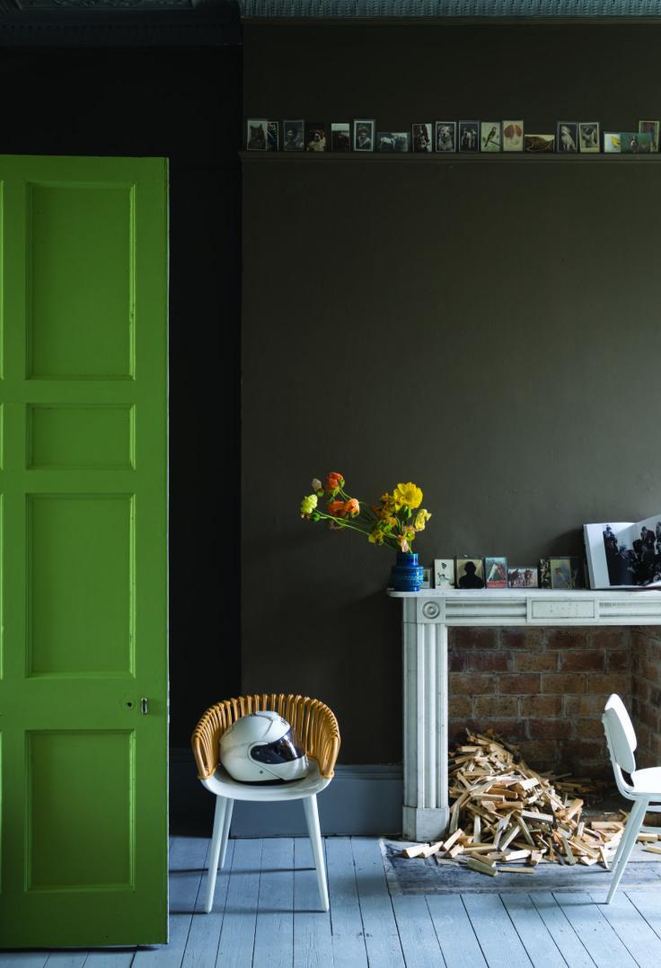 Farrow & Ball's key spring colours for 2016: Drop Cloth, Peignoir, Yeabridge Green and Salon Drab.