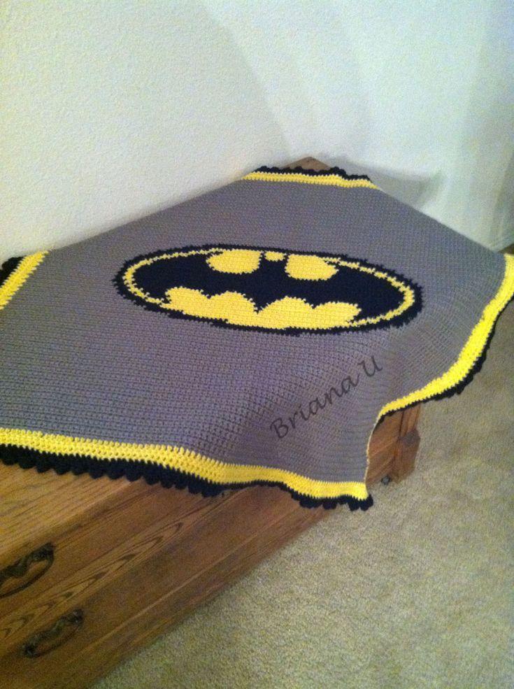 Knitting Pattern For Batman Blanket : Batman Blanket Crochet Crochet, Blanket crochet and Etsy