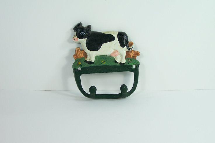 Crochet double, patère, porte-torchons en fonte décor de vache vintage de la boutique MyFrenchIdeedAntique sur Etsy