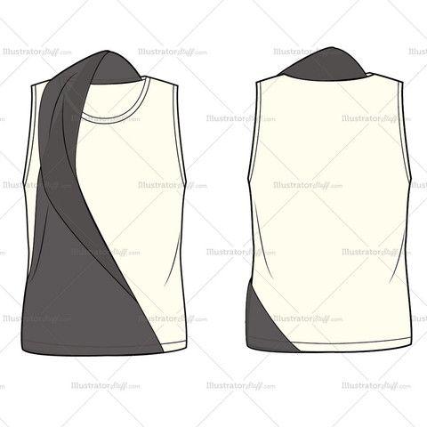 Women's Asymmetrical Sweater Fashion Flat Template