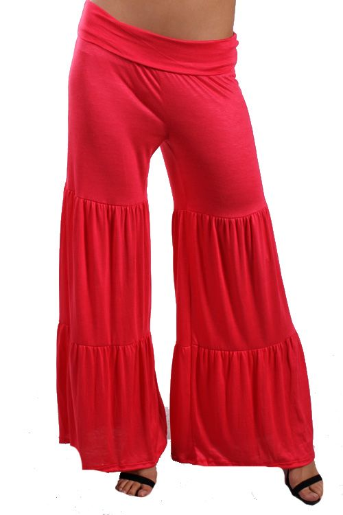 All About The Ruffle Bottom Palazzo Pants in Pink