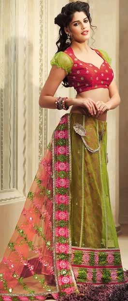 Peach, parrot green and dusty red Lehenga style saree with blouse.