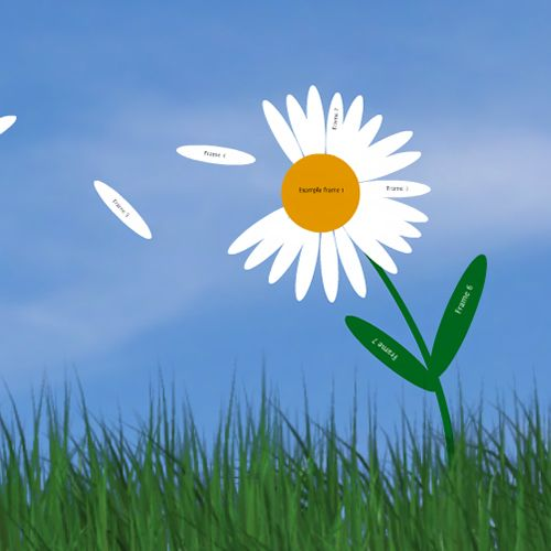 Prezi template with a daisy flower, 3D sky background and green grass.