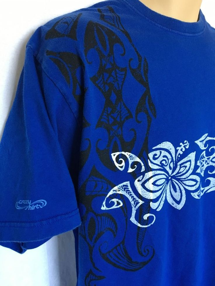 CRAZY SHIRTS HAWAII Island Style Graphic T-Shirt Blue L Heavy Weight Cotton  | eBay