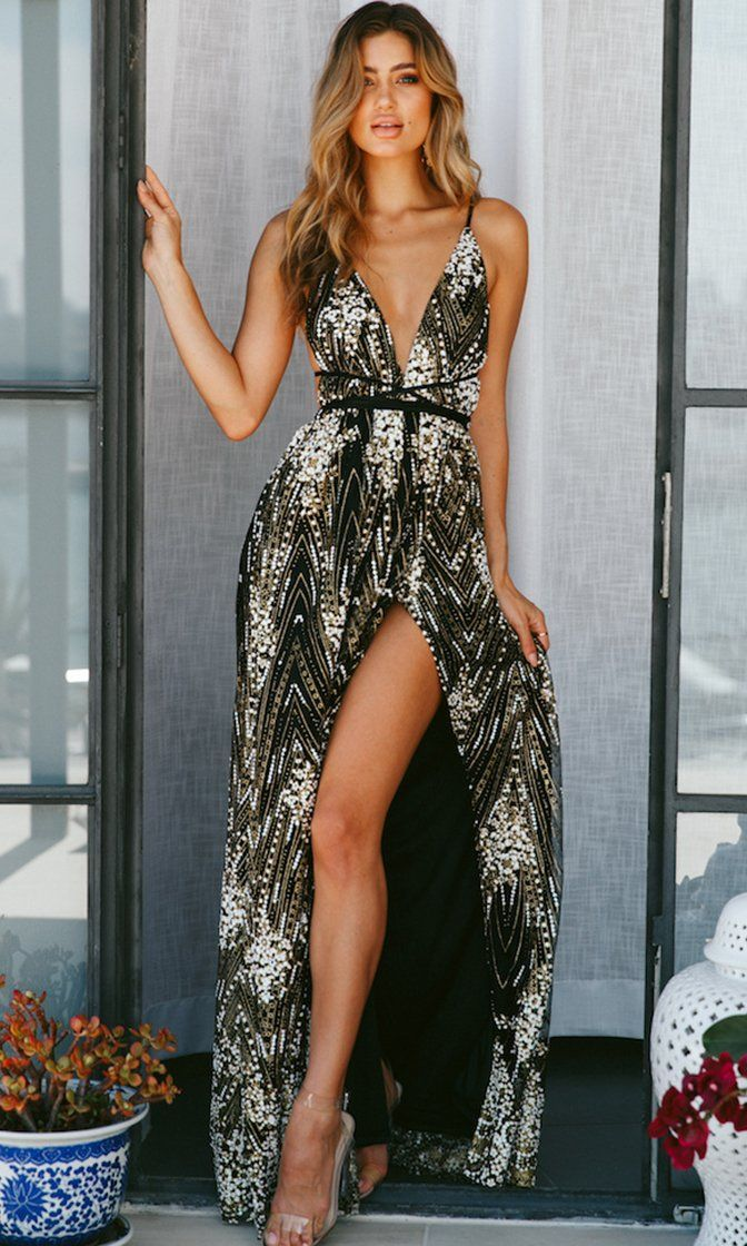 970278b0f6fd4 Breaking Barriers Black Sequin Embroidery Geometric Pattern Sleeveless Spaghetti  Strap Plunge V Neck Backless Maxi Dress