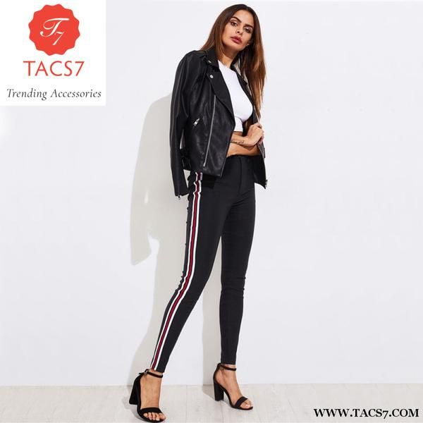 007bc68e Ladies Side Striped Skinny Pants High Waist Woman Pants Casual Women A –  Trending Accessories