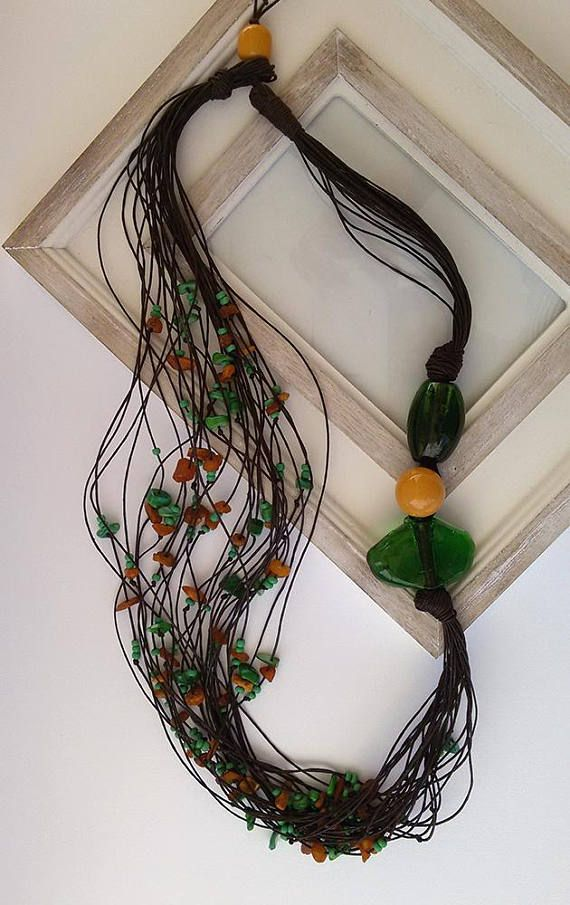 Natural Amber and Green Mother of Pearls Multi Strand Cotton