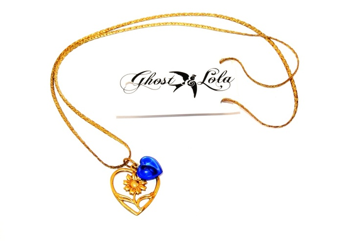 Ghost and Lola 1930's Sunlover necklace with vintage sunflower heart, lucite heart & chain. Letty's feb 2013 gift