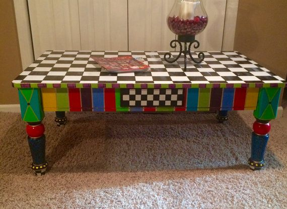 Whimsical Painted Coffee Table // Painted Furniture // Painted Table