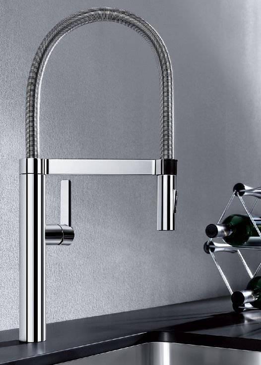 Love this #Geometric #modern #style chrome extendable tap!  #Innovative #Design #Kitchen    Blancoculina-S from Blanco By Hafele