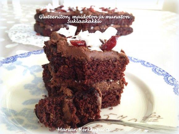 Gluteeniton, maidoton ja munaton suklaakakku