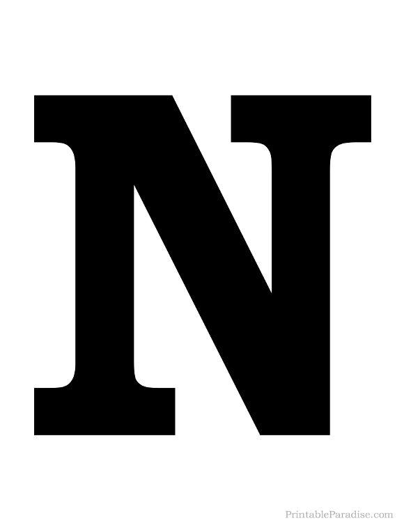 Printable solid black letter n silhouette diy - N letter images ...