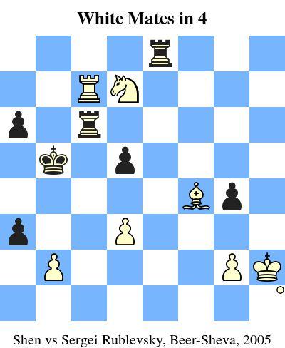 White Mates in 4. Shen vs Sergei Rublevsky, Beer-Sheva, 2005 www.jouer-aux-echecs.com #echecs #chess #jeu #strategie