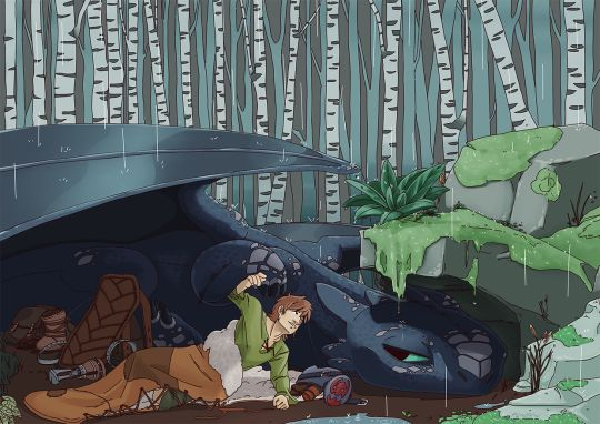 Hiccup and Toothless camping out on one of the undiscovered islands they found on their travels.