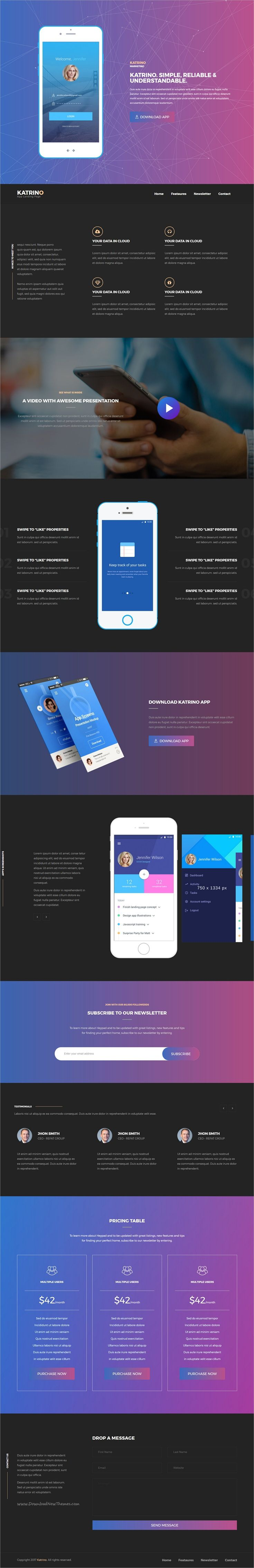 Katrino is a clean and modern #Bootstrap #App #Landing #Page #Template with  8 different homepage styles and color variations download now➩ https://themeforest.net/item/katrino-responsive-app-landing-page/18962794?ref=Datasata