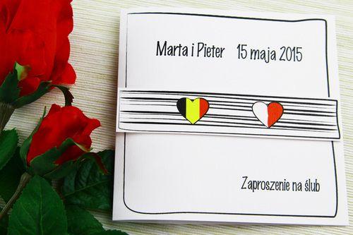 """Międzynarodowe zaproszenie ślubne w dwóch językach - """"2 Narody"""". Personalizacja zawarta w cenie. Kolorystyka flag jest dostosowywana do barw krajów z których pochodzą przyszli małżonkowie."""