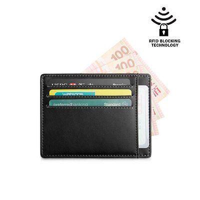 Men's Black Slim Leather Wallet Secure Credit Card Holder RFID Blocker Purse