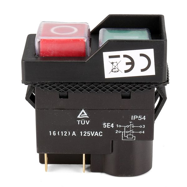 125V KJD17 IP54 Switch 4 Pin No-Voltage Release Switch Plastic  Specification: Model: KJD17 Main Color: Black Material: Plastic Voltage: 125V Current: 16 A Pin: 4 Degree of Protection: IP54 Standard: TUV(EN61058) Number of Opertating cycles: 5E4 Dimensions Switch body: 53mm x 26.7mm (appr.) Depth behind mounting plate: 37.2mm(appr.) Overall Dimensions: 53mm x 26.7mm x 55.5mm(appr.) Features: The KJD17 125V switch is frequently used on many workshop machines. Rated at 16amp it will be…
