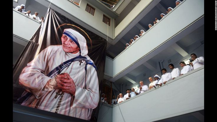 Roman Catholic nuns of the Missionaries of Charity look on after a service for…
