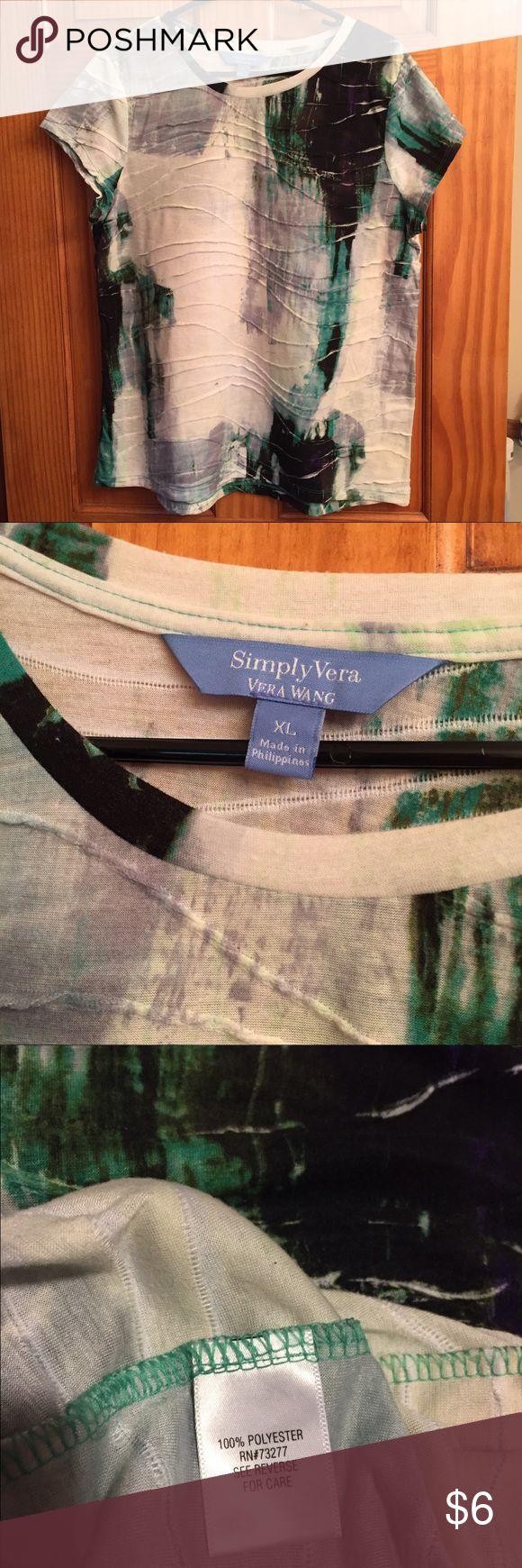 Simply Vera - Vera Wang 100% Polyester Shirt Simply Vera - Vera Wang 100% Polyester Shirt.  Gently worn. Simply Vera Vera Wang Tops Tees - Short Sleeve