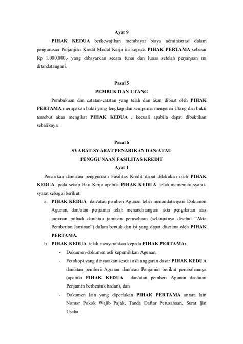 Contoh Surat Kontrak Perjanjian Kredit Elektronik Contoh Surat