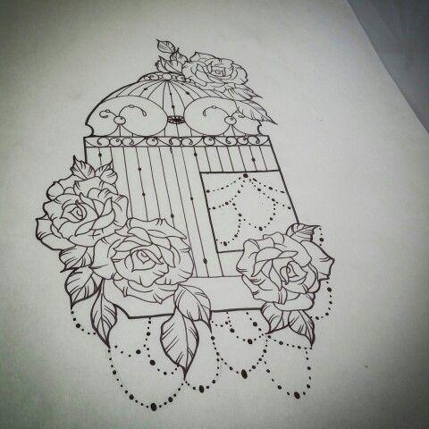 Bird cage tattoo design for tomorrow.