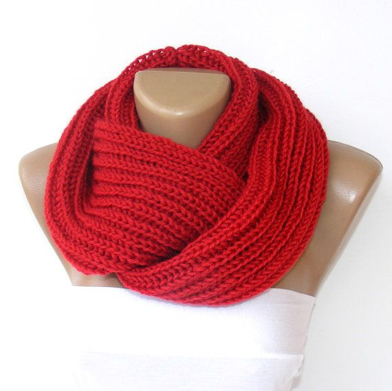 red Knitted infinity Scarf. Knit infinity Scarf ,Block Infinity Scarf. Loop Scarf, Circle Scarf, Neck Warmer. red Crochet Infinity scarves