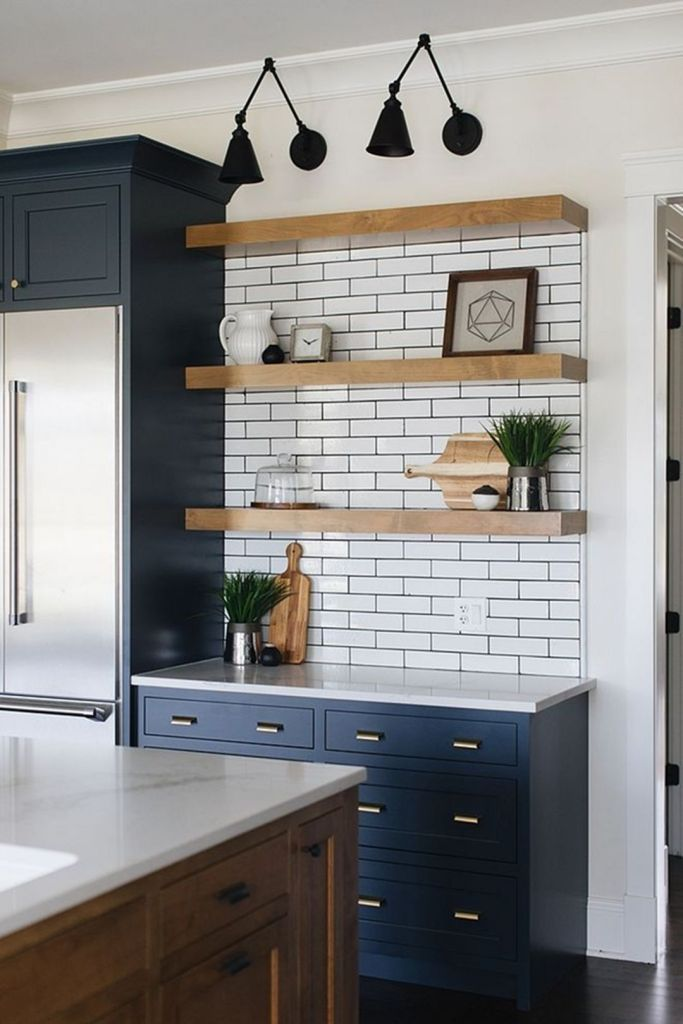 30 Attractive Farmhouse Kitchen Wall Shelves With Most Wonderful Design You Never Seen Decor It S Farmhouse Kitchen Decor Home Decor Kitchen Industrial Farmhouse Kitchen