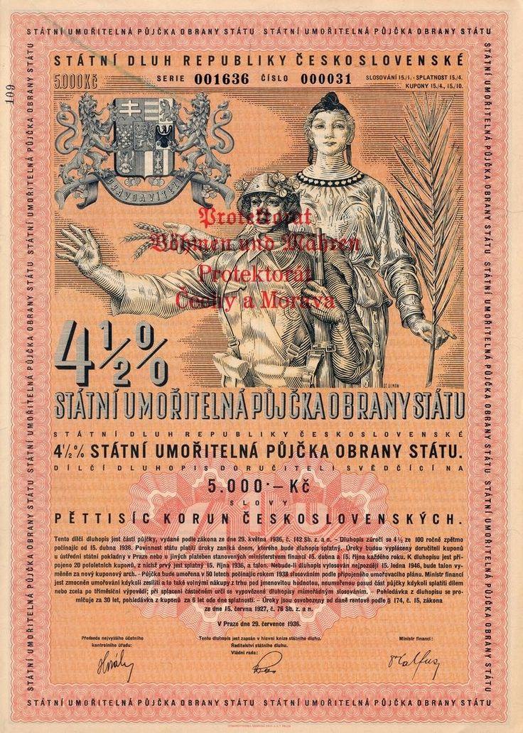 Státní umořitelná půjčka obrany státu na 5 000 Kč. Praha, 1936.