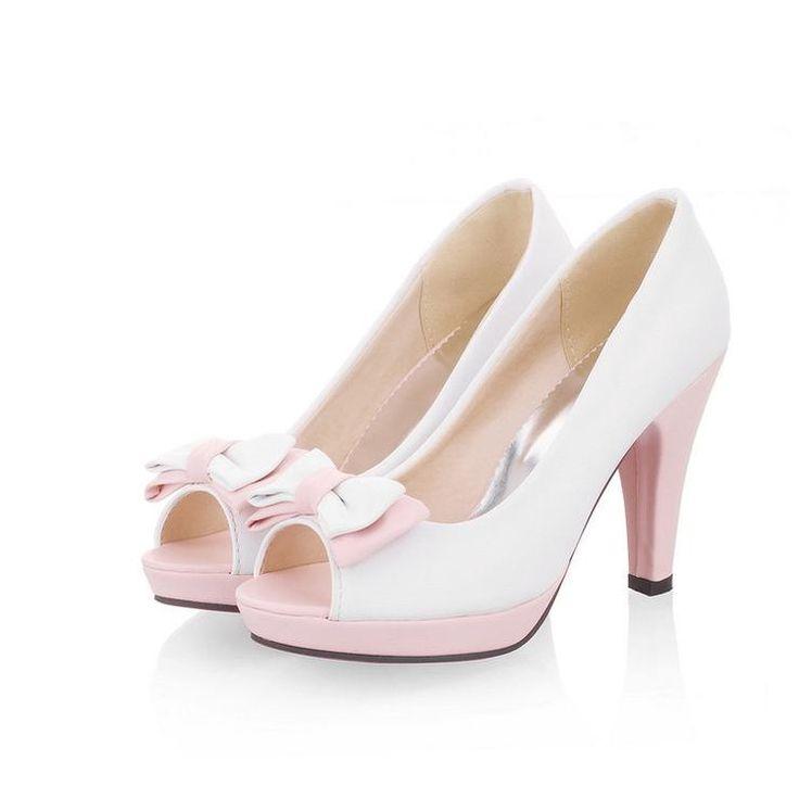 Women Peep Toe Bowtie Pumps High Heel Sandals Shoes 2960