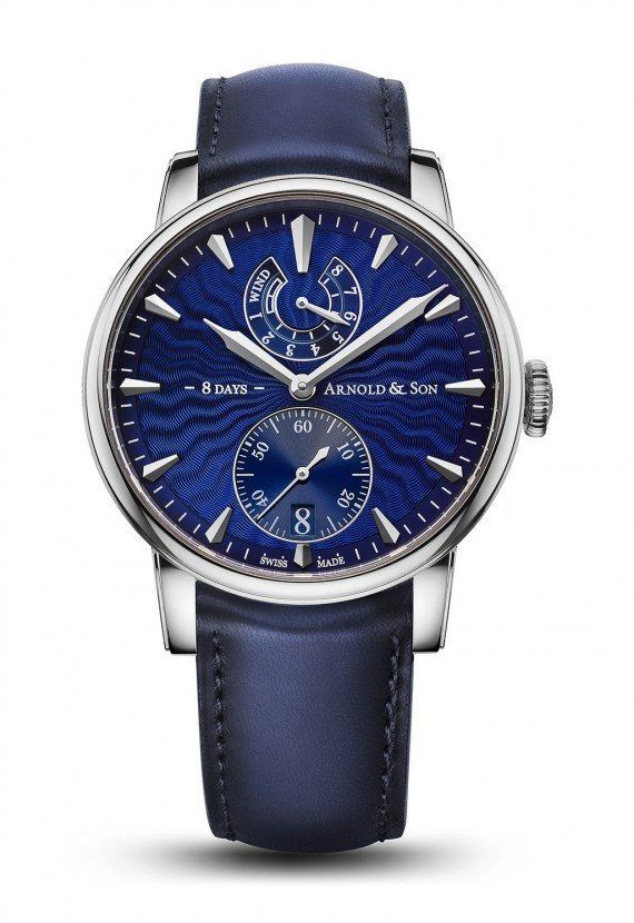 The #arnoldandson Eight-Day Royal Navy watch pays tribute to the marine chronometers made in the 18th century by brand namesake John Arnold and his son.  It features a new movement, Caliber A&S1016, and is shown here with a royal blue guilloché dial on a hand-stitched, aged calfskin leather strap in blue.  More @ http://www.watchtime.com/wristwatch-industry-news/watches/arnold-son-eight-day-royal-navy-echoes-18th-century-british-chronometer #watchtime #menswatches #luxurywatch…