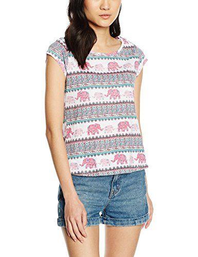 Camiseta de manga corta para mujer con diseño cenefa elefantes muy original.