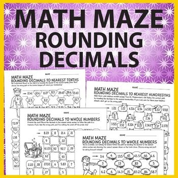 "These math maze rounding decimals worksheets are perfect for mental math practice to solidify rounding decimal skills in a fun way. Each worksheet contains a scenario where correct answers lead the way out of the maze to accomplish a scenario. Sample scenarios include: ""Help these animals escape from Dr."