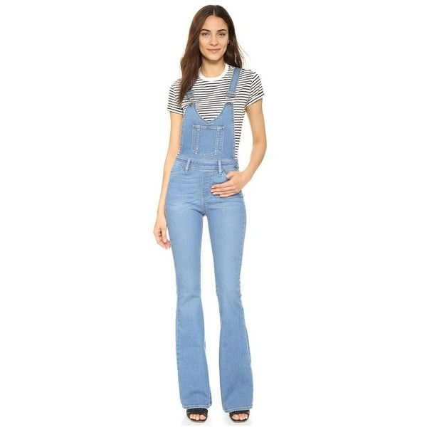 Paige Denim Rialta High Rise Flare Overalls ($300) ❤ liked on Polyvore featuring jumpsuits, edgecliff, paige denim, flared jumpsuit, blue overalls, paige denim overalls and high waisted jumpsuit